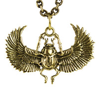 Egypt Scarab Necklace Golden tone Bronze Pendant with Handmade Chain Bohemian Jewelry - FPE014YB