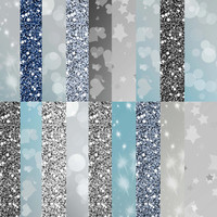 Silver digital paper, Silver digital papers pack, Silver glitter paper, Silver bokeh paper, Silver background, scrapbook paper