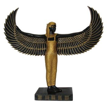 Isis Standing with Wings Egyptian Statue, Black and Gold 9H