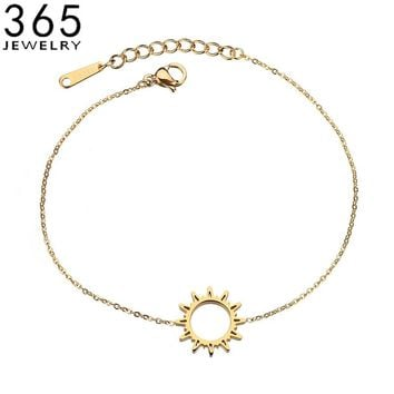 Simple Fashion Jewelry Stainless Steel Hollow Sun Bracelet For Women Gold Color Link Chain Bracelet Girlfriend Gift