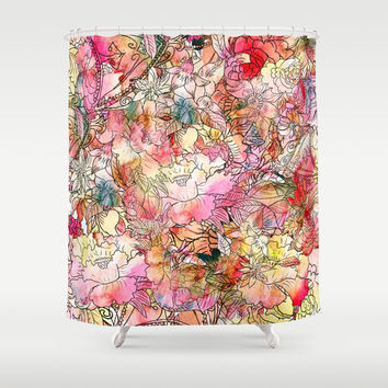 Summer Flowers | Colorful Watercolor Floral Pattern Abstract Sketch Shower Curtain by Girly Trend
