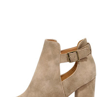 Temperature Turn-Up Stone Distressed Peep-Toe Booties