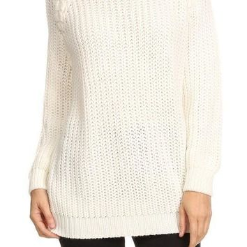 Creme Pullover Sweater With Braided Detail