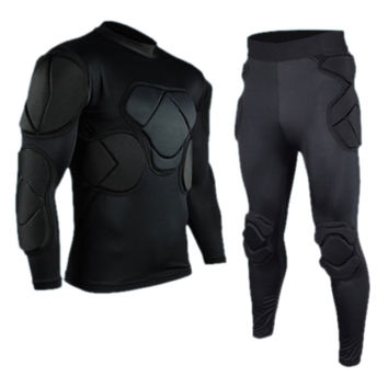 Long Sleeve Goalkeeper Clothes Elbow Pads Helmet Kneecaps   top wear+long pants   M