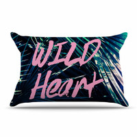 "Ann Barnes ""Wild Heart 1"" Pink Green Pillow Case"
