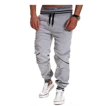 Full Lengh Mens' Pants Fashion Casual Elastic Waist Hit color Sweatpants for Boy