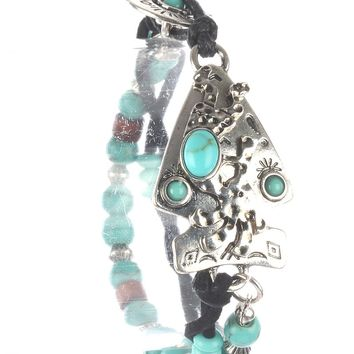 Turquoise Hammered Metal Arrowhead Natural Stone Bead Bracelet