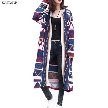Vintage Women Long Cardigans Autumn Spring Harajuku Korean Style Casual Loose Female Jacket Ladies Sweater Coat Clothes AC103