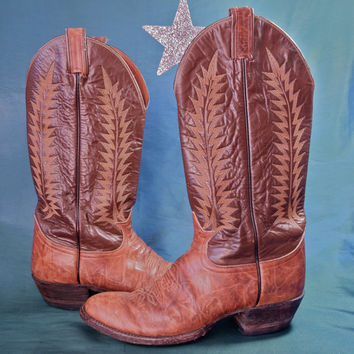 Vintage Tony Lama Tan and Brown Rockabilly Urban Cowboy Boots size 8.5 American