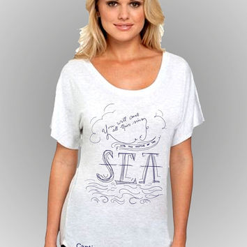Sassy Frass Captivated Into the Sea Flowy Christian Bright Girlie T Shirt