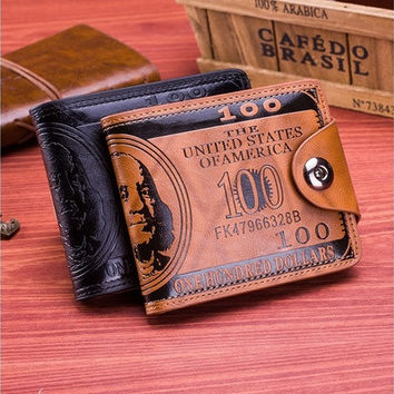 New Men's Boy's Classic Leather Pockets Creidt/ID Cards Holder Purse Wallet AP US Dollar Magnetic Buckle Wallet(Two Colors) [8323382401]