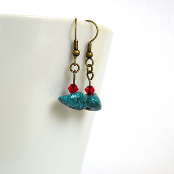 Turquoise-Red Bead Earrings / Optional clip-on