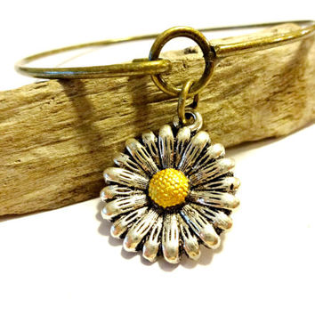 New For Fall Jewelry, Brass Bangle Bracelet,  Infinity Bracelet, Sunflower Charm Bangle, Trending Jewelry, Back to School Accessories