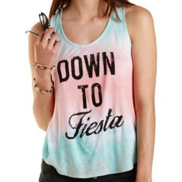 Multi Down to Fiesta Tie-Dye Graphic Tank Top by Charlotte Russe