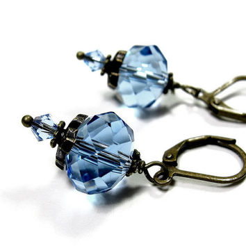 Vintage Style Earrings Light Blue Czech Glass and Swarovski Dangle Earrings Baby Blue Sparkling Jewelry Valentines Day Gift Mothers Day Gift