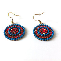 America Dangle Earrings, 4th of July, Blue, Red, Beaded, Rhinestones, Long, Round