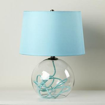 The Land of Nod: Kids Lighting: Aqua Blue Crystal Ball Table Lamp in All Lighting