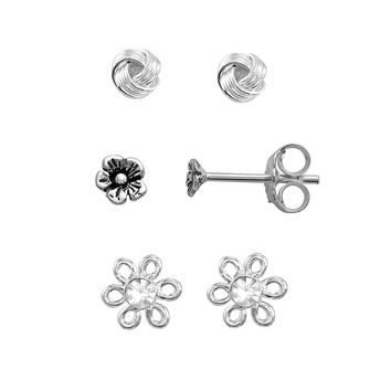 Itsy Bitsy Crystal Sterling Silver Flower, Love Knot & Textured Flower Stud Earring Set (Grey)