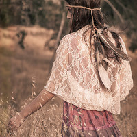 Boho Clothing- Ivory Lace Loop Shrug, Shawl, Crisscross And Infinity Scarf All In One. Great Birthday Gift For Teen, Girls And Young Women.