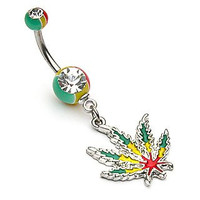 Jamaican Pot Leaf With Jamaican Gem Ball Ends Navel Belly Ring 14g