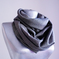 Handmade Herringbone Infinity Scarf - Wool - Navy Blue Beige - Winter Autumn Scarf - Men Unisex Scarf