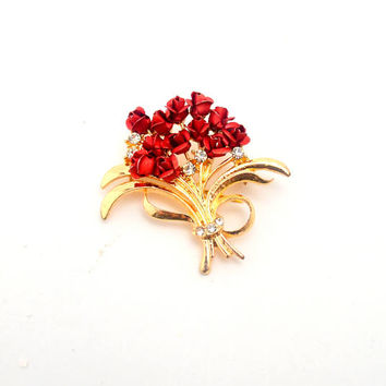 Vintage Red Rose Bouquet Brooch, Gold Tone Costume Jewelry Pin with Rhinestones