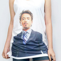 ROBERT Downey Jr T-Shirt Iron Man Shirt Women T-Shirt Tank Top Tunic Top Vest Women Shirt Women Sleeveless Singlet White T-Shirt Size M