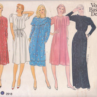 Pattern for loose fitting pullover dress knee or evening length or tunic with skirt,  scarf and belt misses size 12 Vogue 2918 UNCUT