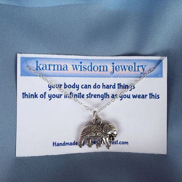 Silver Elephant Necklace Karma Wisdom Jewelry With Quote -your body can do hard things- 925 Silver Necklace Elephant Personalized Gifts