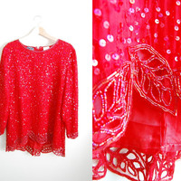 The Maple - Vintage 80s Red Beaded Sequin Cutout Oversized Shirt Dress