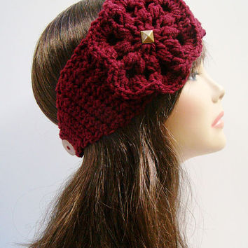FREE SHIPPING - CUSTOM Crochet Ear Warmer Headband with Flower and Button - Maroon, Tan, Heather Gray, Charcoal, Off-White, Black, Brown