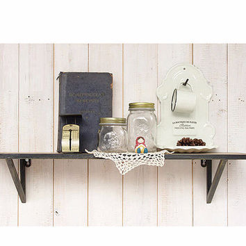 Distressed Handmade Metal Framed Solid Wood Display /Wall Shelf
