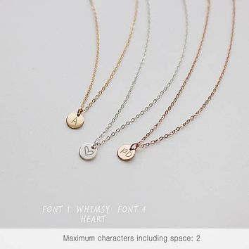 Tiny Silver Disc Necklace, Dainty Silver Necklace,