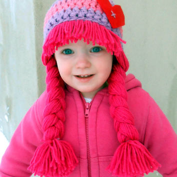 Valentine's Day Hat Cabbage Patch Hat Baby Girl Photo Prop Pink Wig Heart Hat