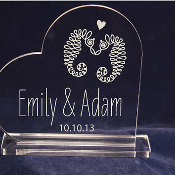 Romantic  Seahorses Clear Acrylic Cake Topper Nautical Themed Laser Engraved Monogram