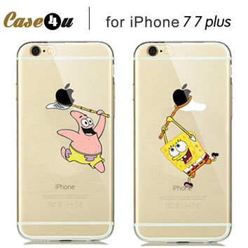 Capa para for iphone 7 Pokemons Pikachus Case For fundas iphone 7 Plus soft silicone Case Cover Cartoon Pattern spongebob minion