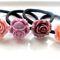 Loves Blush hair accessories set lot of 3 ponytails hairbands blush rose coral plum gift for her under 20