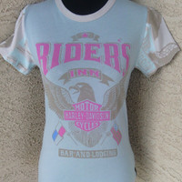 Harley davidson T shirt top size small cotton pink and green ' Riders Inn ' and american flag with eagles biker