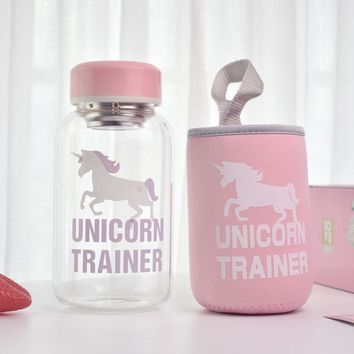 600ml Cartoon Unicorn Glass Water Bottle with Cloth Protection Cover Tea Infuser Include Bottle for Water Liquid Glass
