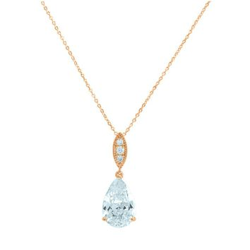 Erath Pear Drop CZ Rose Gold Pendant – 10mm