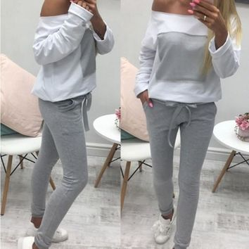 New White Color Block Drawstring Pockets High Waisted Casual Long Jumpsuit