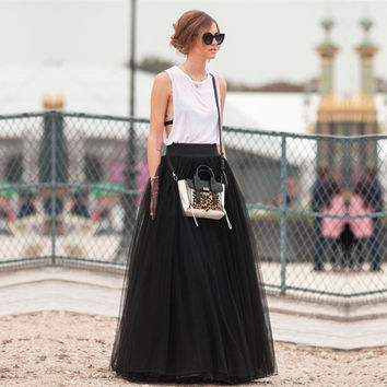 Cheap Price 100% Real Images Floor Length Long Skirts 2017 Winter Tutu Skirts A-line Pleated Black Tulle Skirts faldas