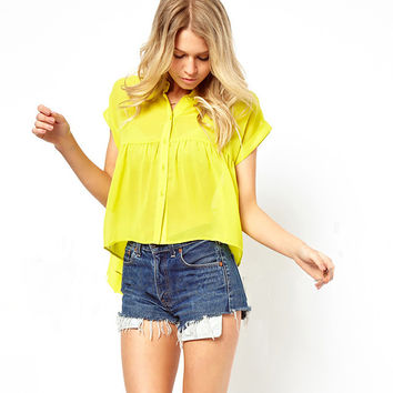 Yellow Asymmetrical Short-Sleeve Chiffon Blouse