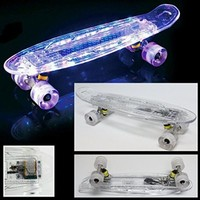 "22"" LED Lights Skateboard Clear Wheels with Rechargable USB Cable - Free Shipping with Same Day Handling"