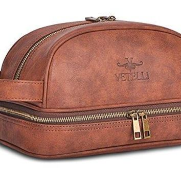Vetelli Leather Toiletry Bag For Men (Dopp Kit) with free Travel Bottles.