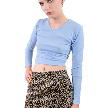Pleasure Rib V Neck Top - Blue