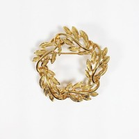 Napier Vining Leaf Wreath Brooch Vintage 1990s Gold Tone Circle Pin Leaves Gift for Her Birthday Mother's Day or Christmas