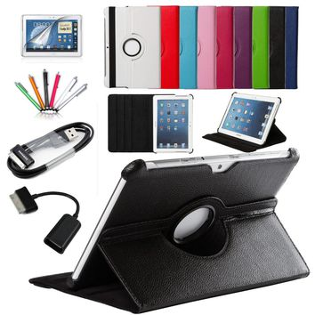 7 in 1 For Samsung Galaxy Tab 2 10.1 P5100 P5110 P7500 P7510 Smart Tablet PU Leather Case Cover 360 Rotating+Micro OTG+USB cable