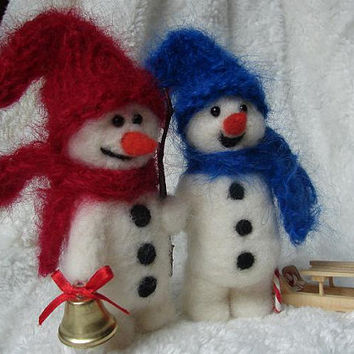 Needle Felted Snowman Christmas Decor wool Snowmen Winter
