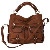 Moda Luxe Satchel with Crossbody Strap - Cognac
